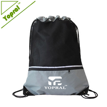 Custom Wholesale Gym Mesh Drawstring Sport Bag with Front Zipper Pocket