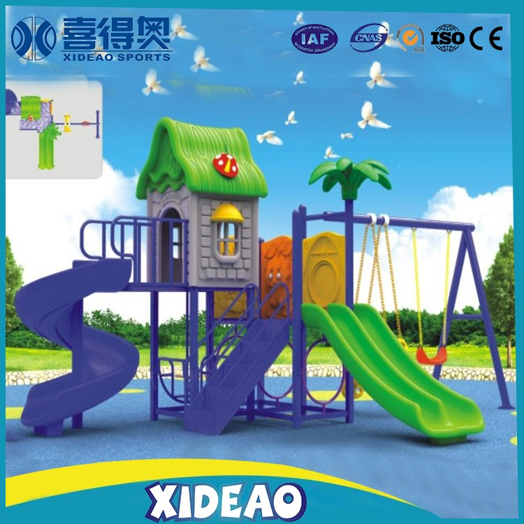 popular plastic children fitness playground slide roof for park