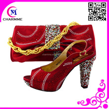 italian shoes matching bags set with shinning design for the party and wedding