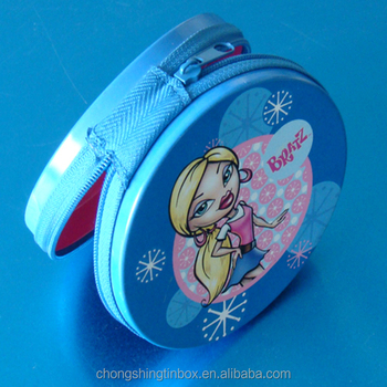 new style round tin box with zipper