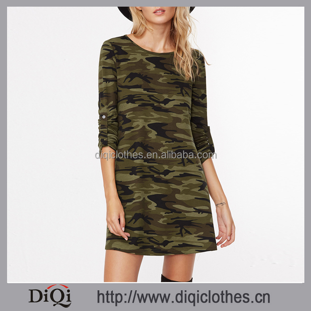 2017 Newest designs clothes Factory wholesale stylish Spring women Camouflage Print Roll Sleeve A Line Dress