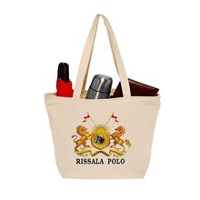 Printed Cotton Canvas Totes Shopping bag with Zipper Closure
