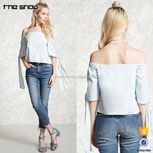 Guangdong garment factory off the shoulder cute korean fashion women clothes style