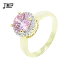 High quality 24K Gold Yellow wedding ring silver Simulated Diamond Jewelry Rings with polished smooth