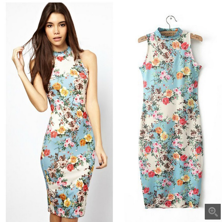 2014 Summer Women New Fashion Sleeveless Tank Floral Printed Elegant Casual Mid-Calf Cotton Slim Vintage Elastic Dress