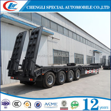 Factory supply extendable 60 tons low bed truck trailer 4 axles low bed trailer for construction machine