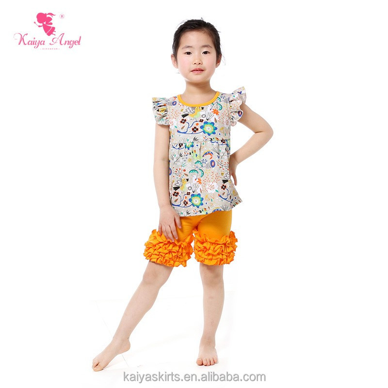 Bulk wholesale kids clothing persnickety remake floral print dust yellow ruffle short and shirt set
