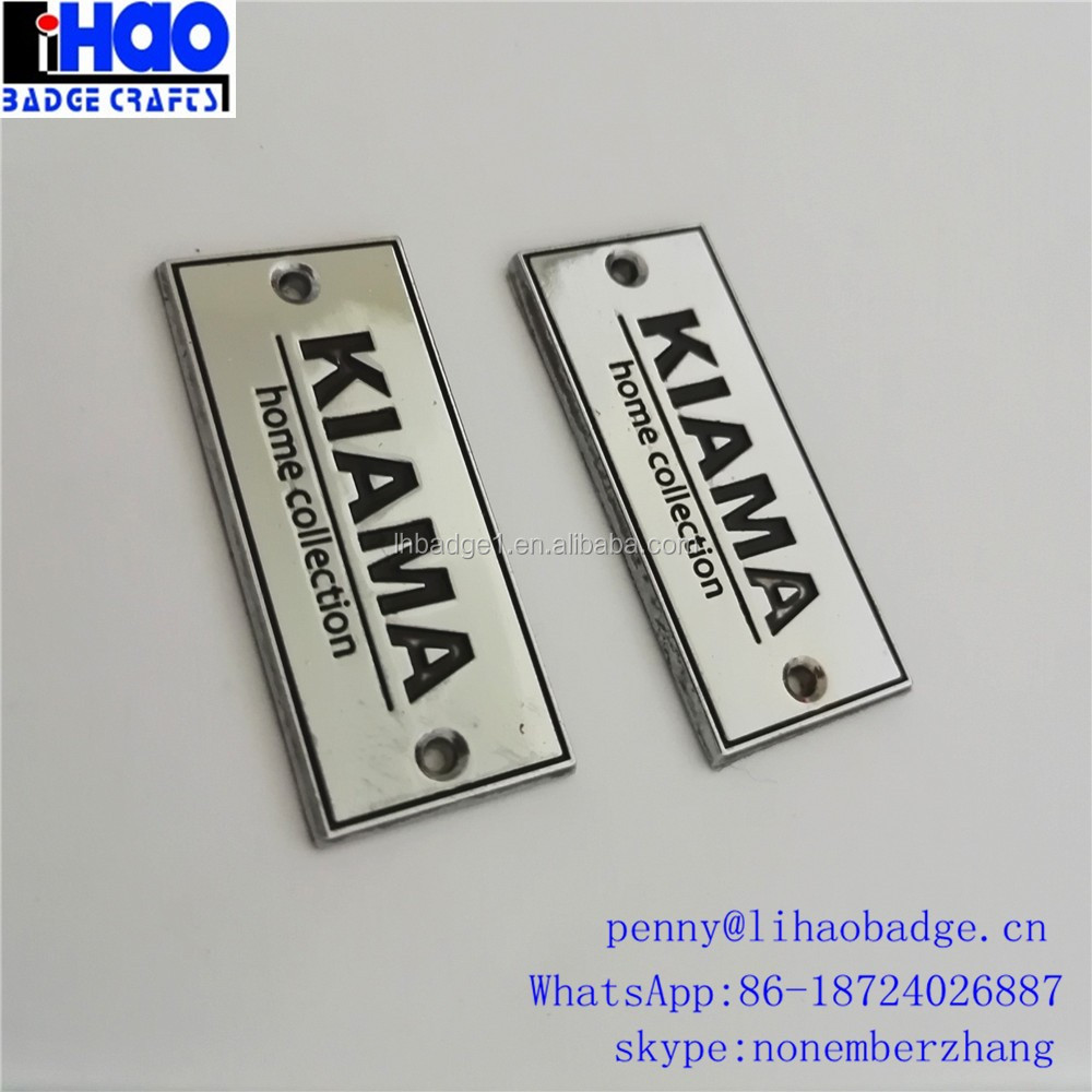 Shiny nickel plating custom logo metal car sticker label nameplate metallic sticker Metal Label with self adhesive sticker