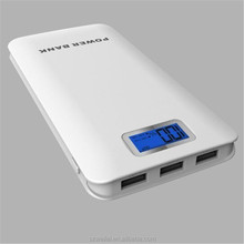 Source factory direct sales LCD Battery Indicator12000mah high quality power bank with3 usb output wholesale low cost price