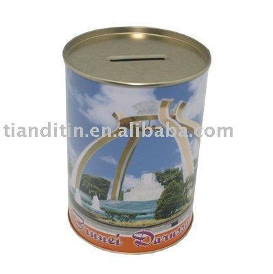 Round Money Tin Box for Saving