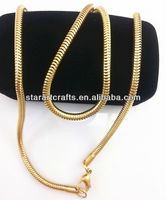 SN014wholesale stainless steel 2mm Snake Chain stainless steel chain necklace, golden plated jewelry