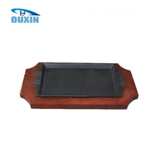 Cast Iron Rectangle Roasting Sizzling Beef Pan Plate