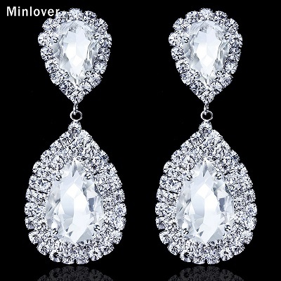 Minlover 5 Colors Crystal Teardrop Long Wedding Earrings for Women Large Dangle Bridal Earrings Fashion Accessories EH003