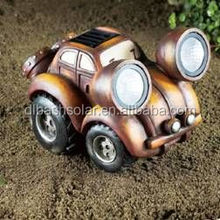 Lovely charming Vintage Car lights ornament powered garden solar lamp