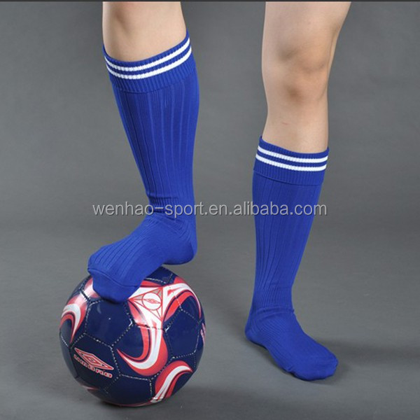 wholesale custom football sock for man in white blue color with white stripe