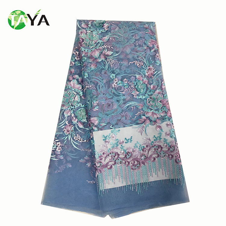 2017 High quality african wholesale textile tear green color guangzhou custom embroidery french lace fabric