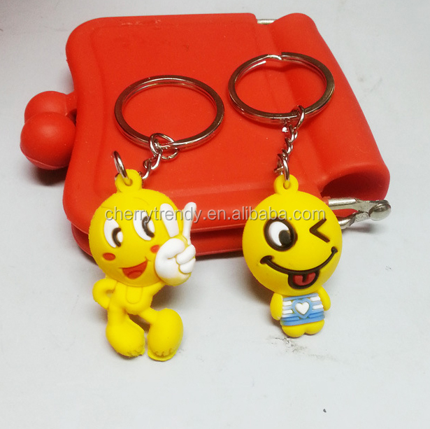 Hot Sell Emoji Keychains 3D Cute Yellow Emoji Key Rings