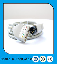 Universal fission 5-Lead ECG trunk cable set and leadwires with sanp terminals