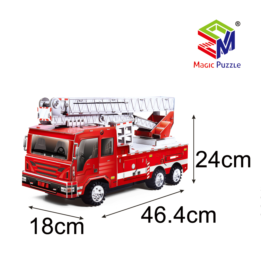 Remote Control Fire Fighting Vehicle 3D Paper Cardboard Jigsaw Puzzle