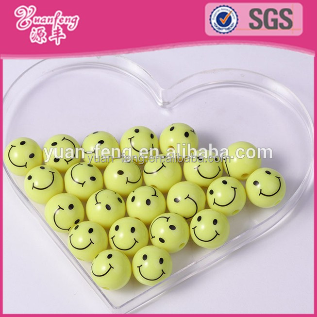 wholesale loose beads smile face bead Emoji Yellow Round Acrylic Emotion Beads baby jewelry