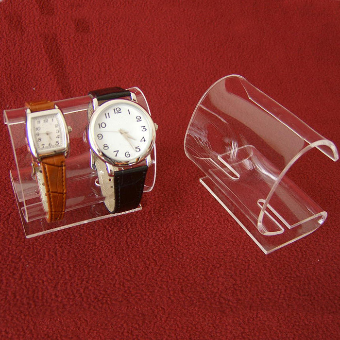 Curved Cabinet Double Clip Clear Acrylic Watch Bracelet Holder Rack