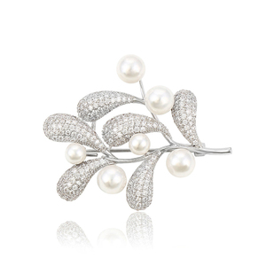 00037 Xuping Leaf Shape Pearl Brooch Trendy Korean Style Elegant Synthetic CZ Initial Brooches