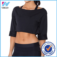Yihao popular t-shirt 2015 Womens Printed black tops Fitness Sports Gym Wear Loose custom Crop Top