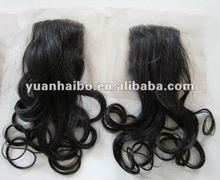 2012 hot selling,130% density, 4x4,color1b,loose wave,100% peruvian human hair,lace closures
