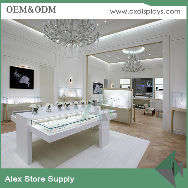 Simple White Jewelry Showroom Design Furniture Display Stand For