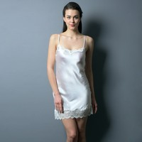 China factory wholesale price 100% silk garment sexy lingerie women dress nighty nightgown