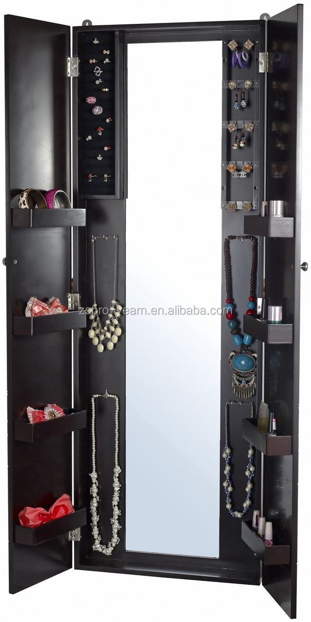 Gendarmerie mur en bois miroir coffret bijoux avec - Miroir sur pied avec coffre a bijoux ...
