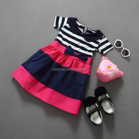 Washable Feature Winter Season fancy dress girls indian doll collar Ruffle Dress Girls Rainbow joint short sleeve children frock