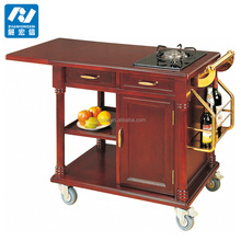 Hotel luxury flambe solid wood cooking trolley