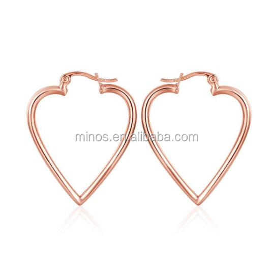Fashion Women's Gold Plated Heart Shape Hinged Large Hoop Earrings