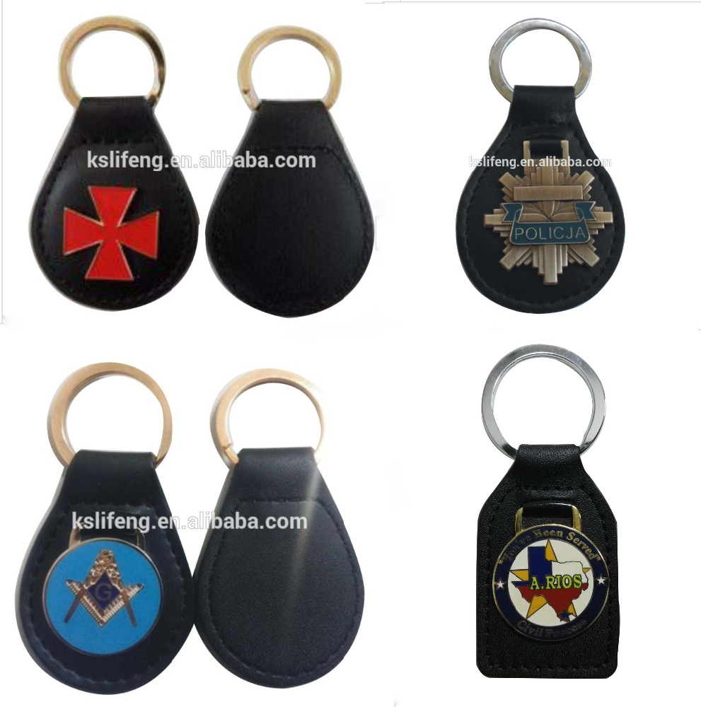 Custom Masonic leather Key holder Metal Embossed Key FOB