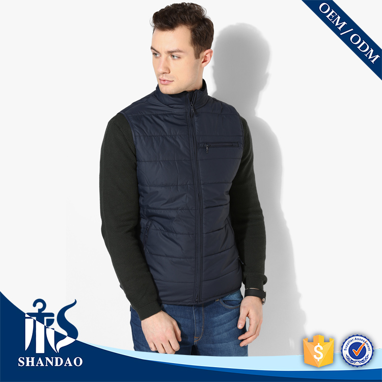 Shandao OEM Solid Color Zipper Side Pocket Stand Collar Men Thermal Padded Casual Jacket without Sleeve