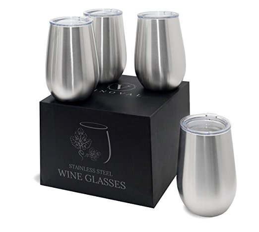 Wholesale Customized 8oz 12oz 16oz powder coated vacuum insulated thermal stainless steel stemless wine glass cup