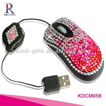 Optical USB Scroll Wheel Bling Crystal beaded Computer Mouse