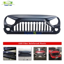lantsun J189 Black ABS plastic Gladiator Angry Front Grille Grill for Jeep Wrangler Rubicon Sahara Sport JK 2007-2017