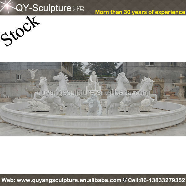 White Marble Fountain With Horse Statues
