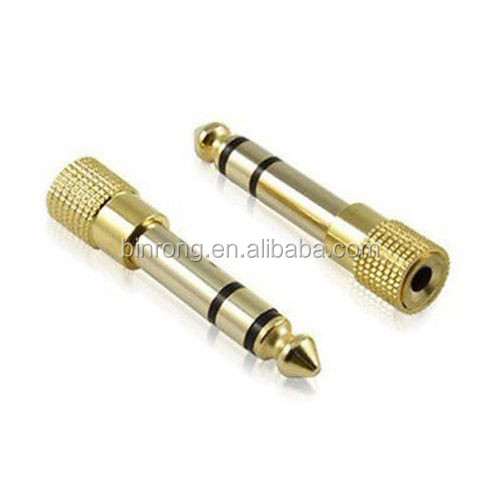 "Gold <strong>1</strong>/4"" 6.35mm Male to Mini Jack <strong>1</strong>/8"" 3.5mm Female Adapter Stereo Plug TRS"
