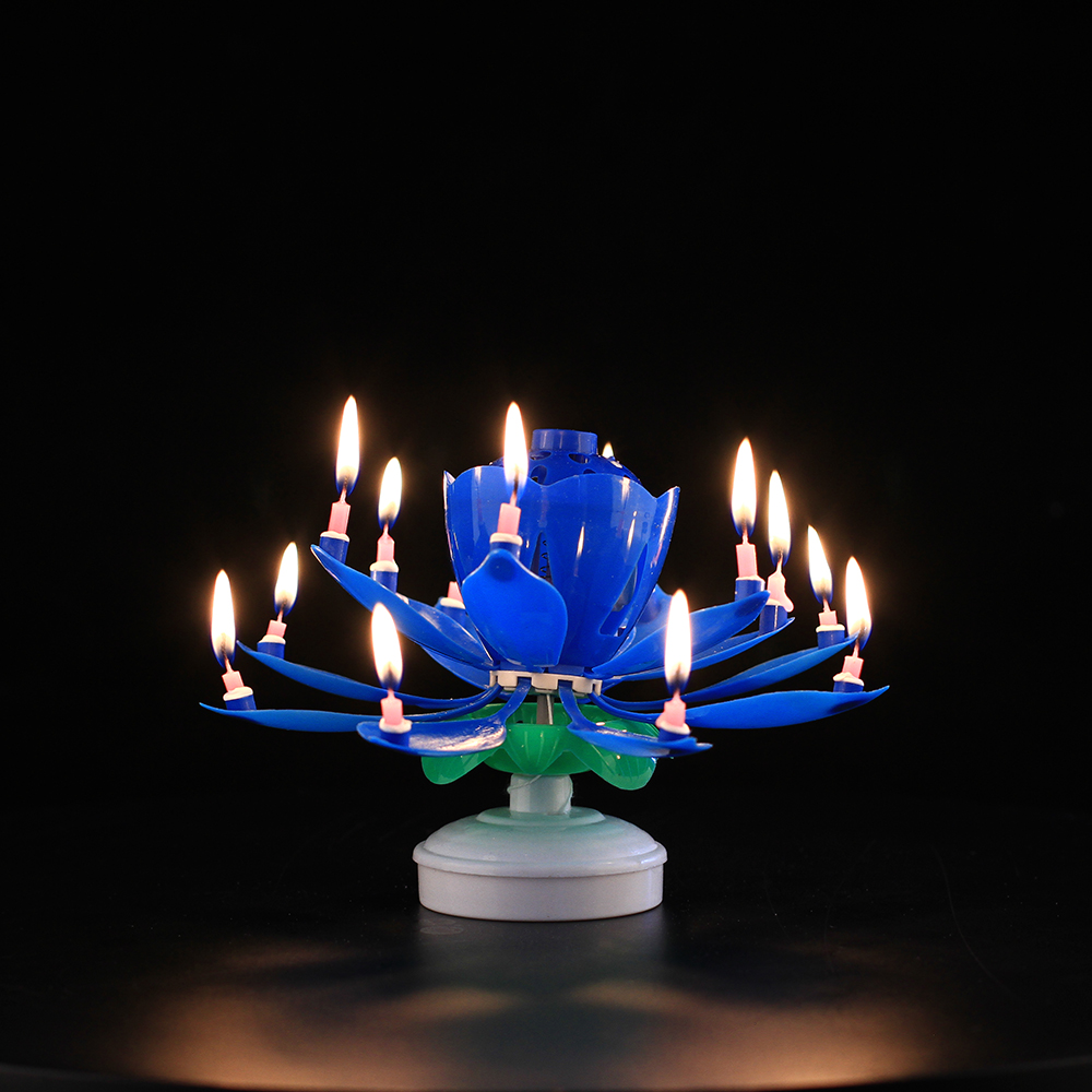 Electronic Rocket Sparkle Fountain Rotating Magic Flower Music Birthday Cake Candle