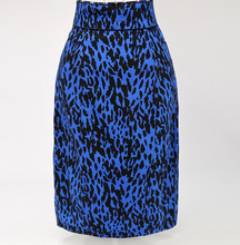 Wholesale Fashion 2016 Women Plus Size Hip Knee Length blue Leopard print Office Lady Pencil <strong>skirt</strong>