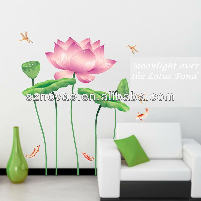 AY997 60*90cm Moonlight over the Lotus Pond Chinese Classic Red Flower Wall Sticker for Living Room