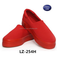 women wedges platform shoes slip-on red casual canvas shoes