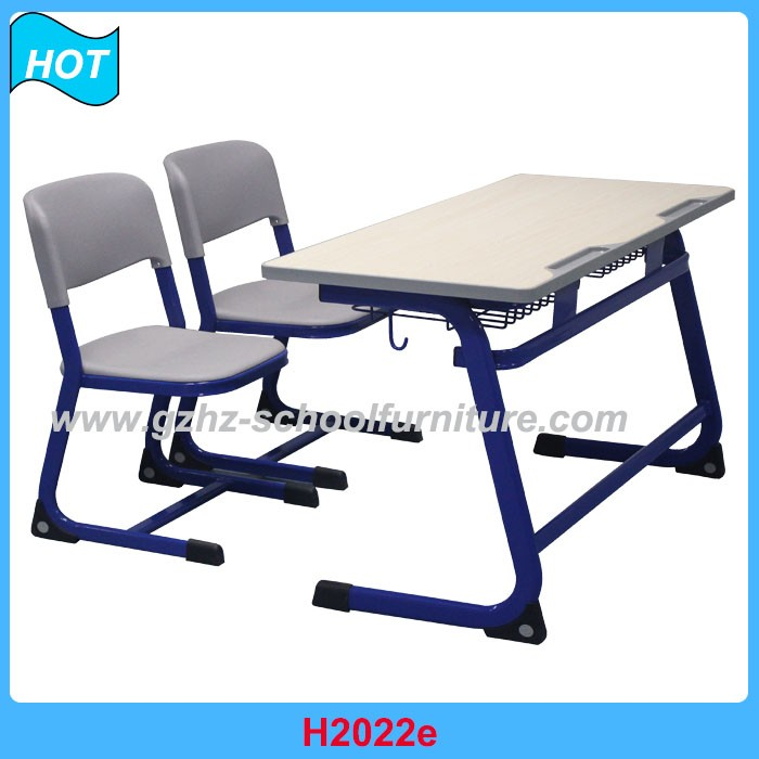 Double Person School Furniture Student Classroom Desk and Chair Steel Frame