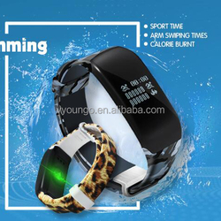 Waterproof Bracelet 0.66 OLED touch screen fitness tracker for swimmer cheap smart watch