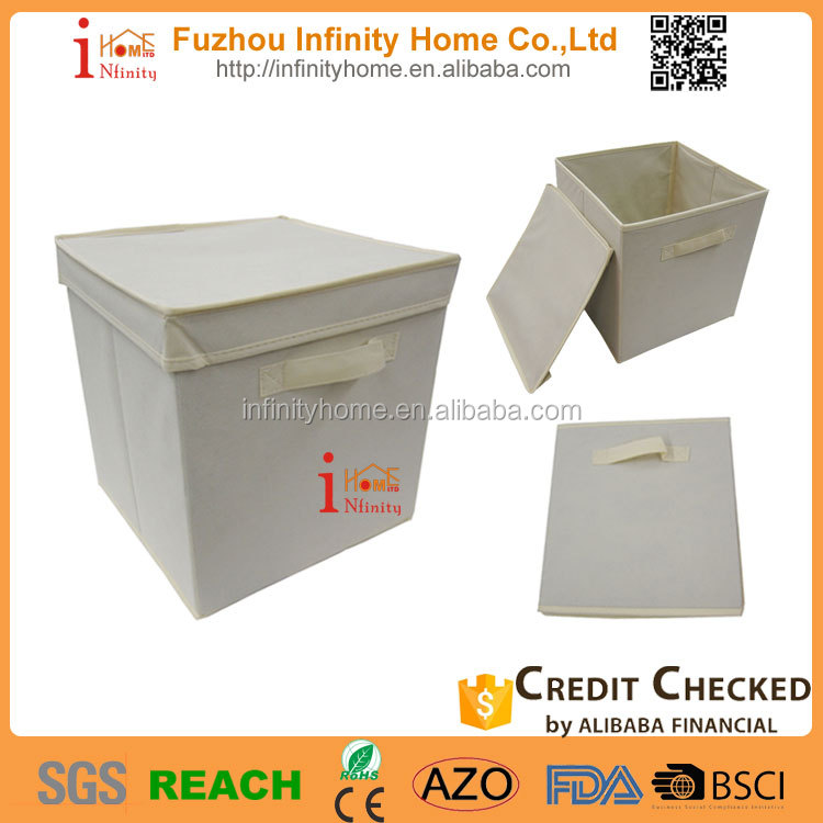 Custom logo printed collapsible storage box with lid for home