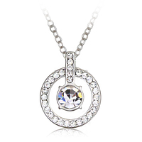 OUXI 2016 New fashion design crystal ring pendent jewelry necklace 10379