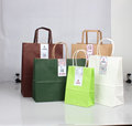 kraft handle carrier small package flat handle Shanghai colours wholesale coffee gift cheap paper bags